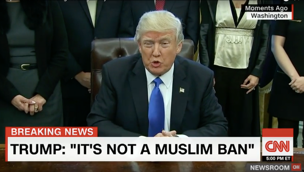 'It's working out very nicely': Trump insists in spite of 'chaos' that Muslim ban is going just fine