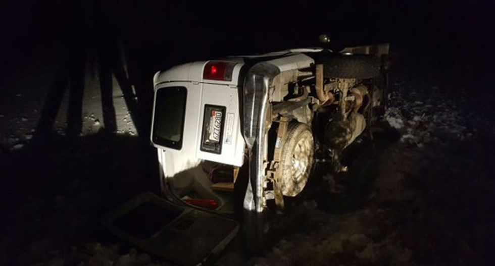 Oregon militant skids off a road, flips his van -- then gets cited for driving without a license