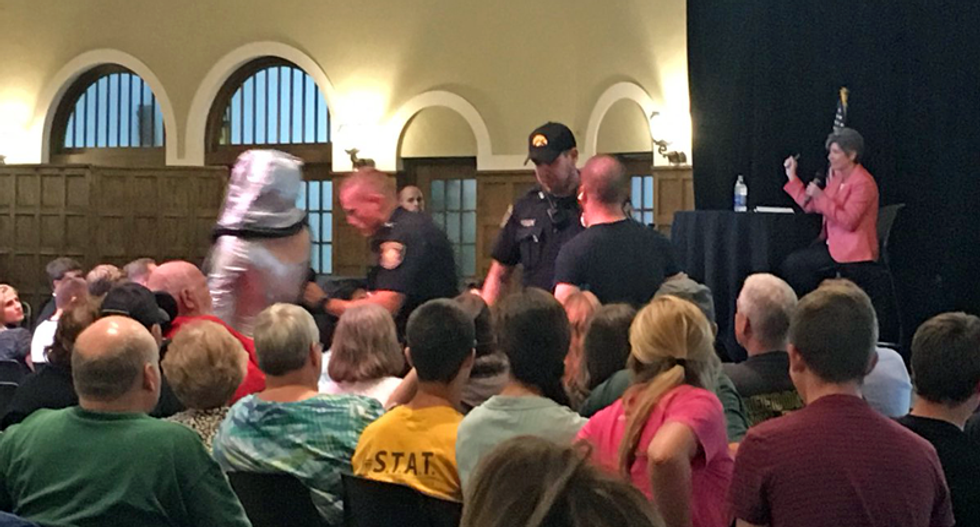 WATCH: GOPer Joni Ernst has town hall protesters removed after crowd calls for single payer healthcare