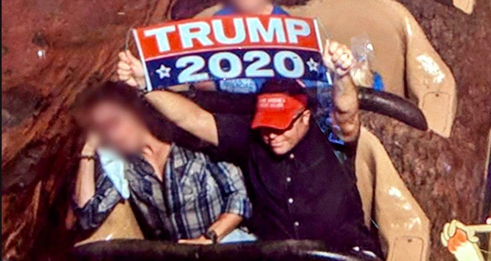Trump supporter ignored warnings to stop flashing Trump 2020 banners at Disney -- and now he's banned for life