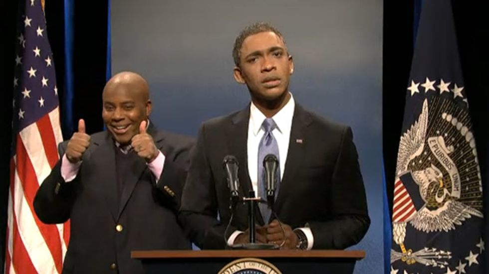 Obama has another encounter with Mandela memorial 'interpreter' on SNL cold open