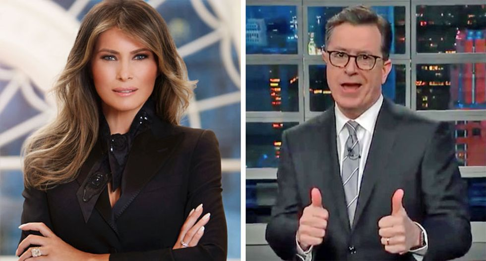 'The First Lady will cut a b*tch': Colbert mocks Melania Trump and her new 'be fired' campaign
