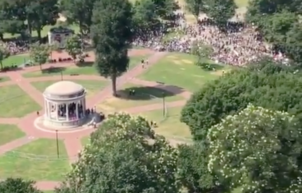 WATCH: This is how outnumbered right-wing protesters were in Boston on Saturday