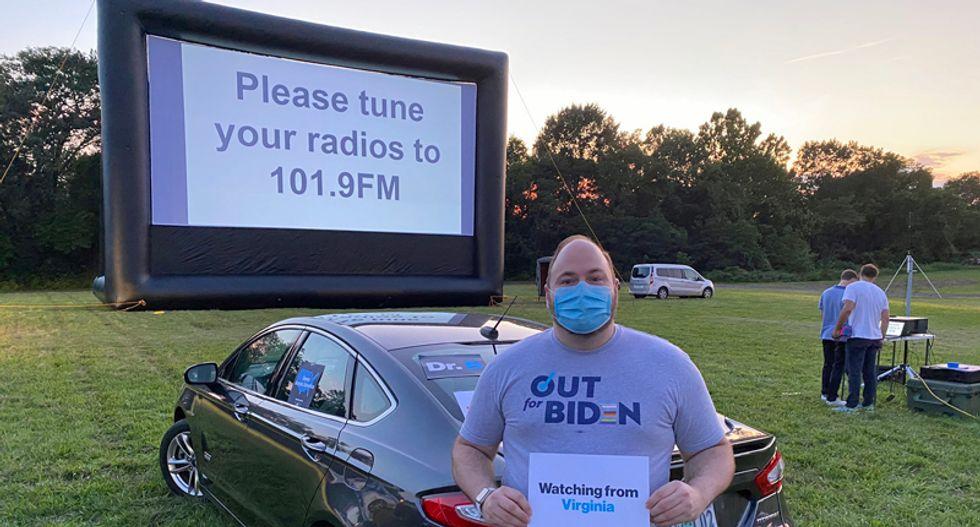Democrats gather at drive-ins to watch Joe Biden's DNC speech during coronavirus pandemic
