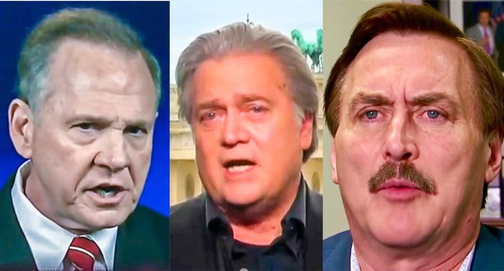 The three amigos of scam artistry: Steve Bannon, Roy Moore and the My Pillow guy