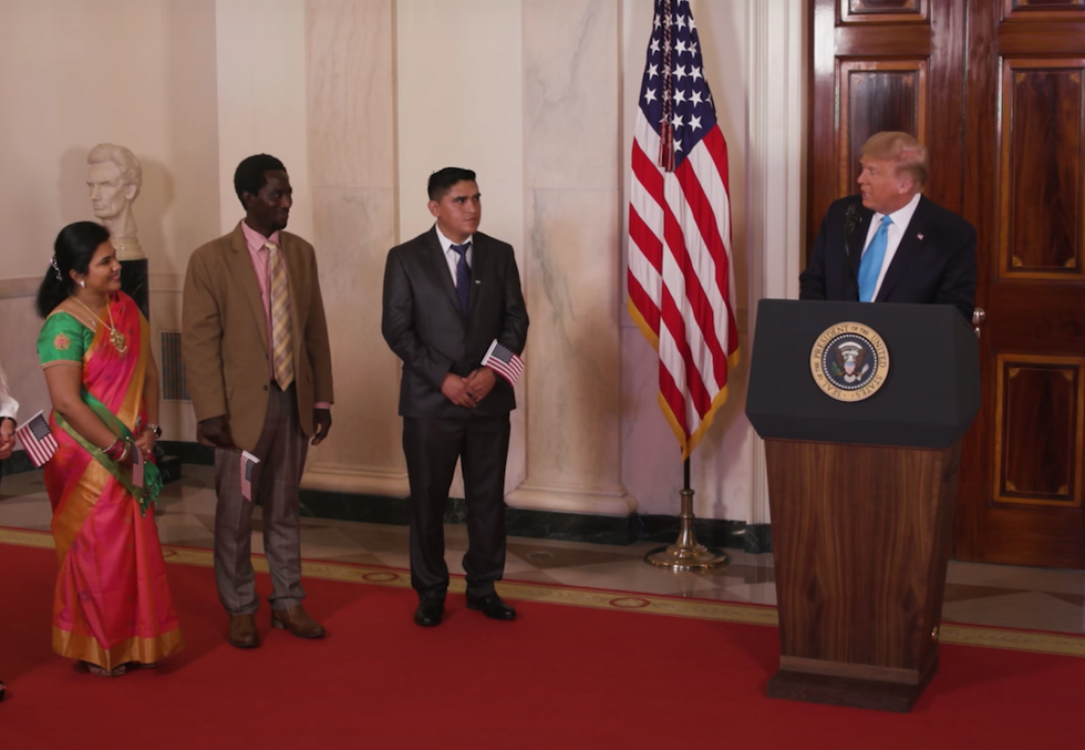 'Nothing less than disgusting': Critics complain 'cynical' Trump 'weaponized' naturalization ceremony aired during RNC