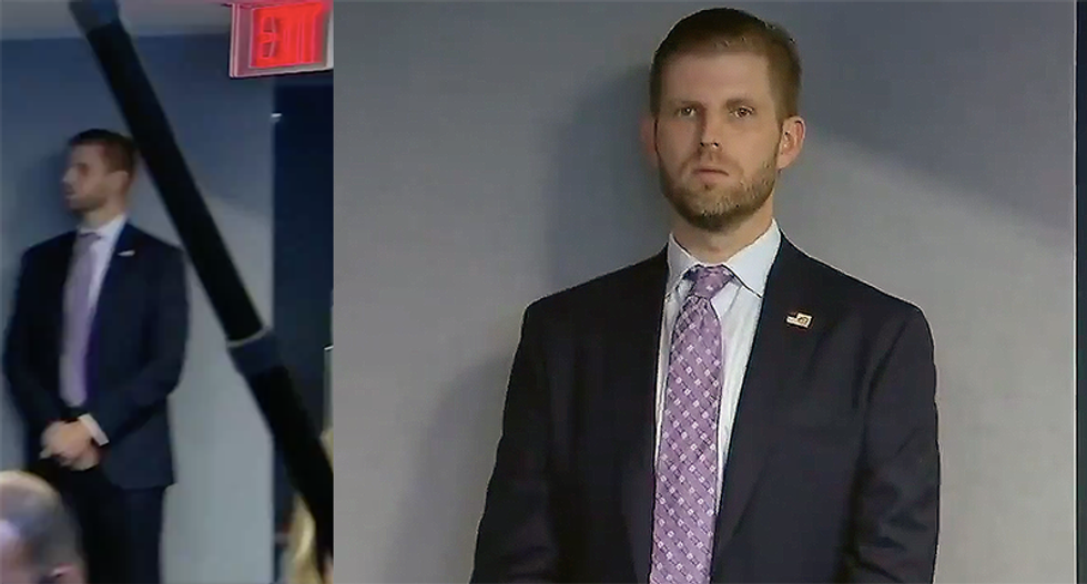 Reporters baffled as Eric Trump shows up to FEMA meeting with his father