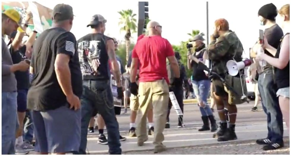 'Hunting season': Violence erupts in Arizona as Nazi-saluting 'blue line' supporters confront protesters