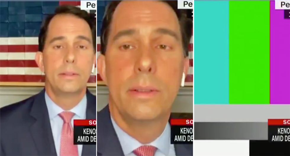 Did Republican Scott Walker turn off his camera when Anderson Cooper pressed if 'silence is complicity'?
