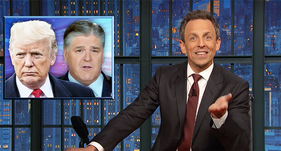 Seth Meyers jokes that phone calls between Trump and Hannity are equivalent to 'two dogs sniffing each other's butts'
