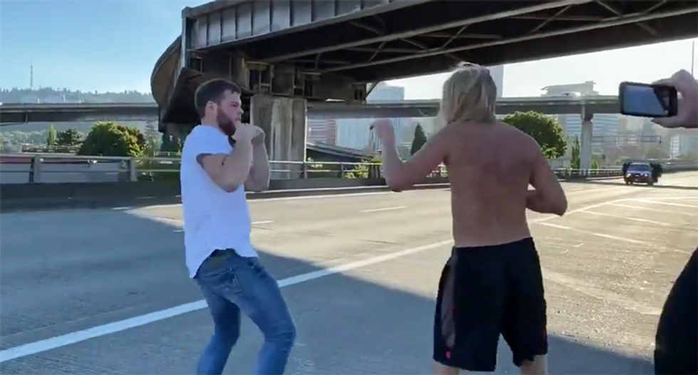 WATCH: 'Mutual combat' on Portland bridge after caravan of Trump supporters almost ran over protesters