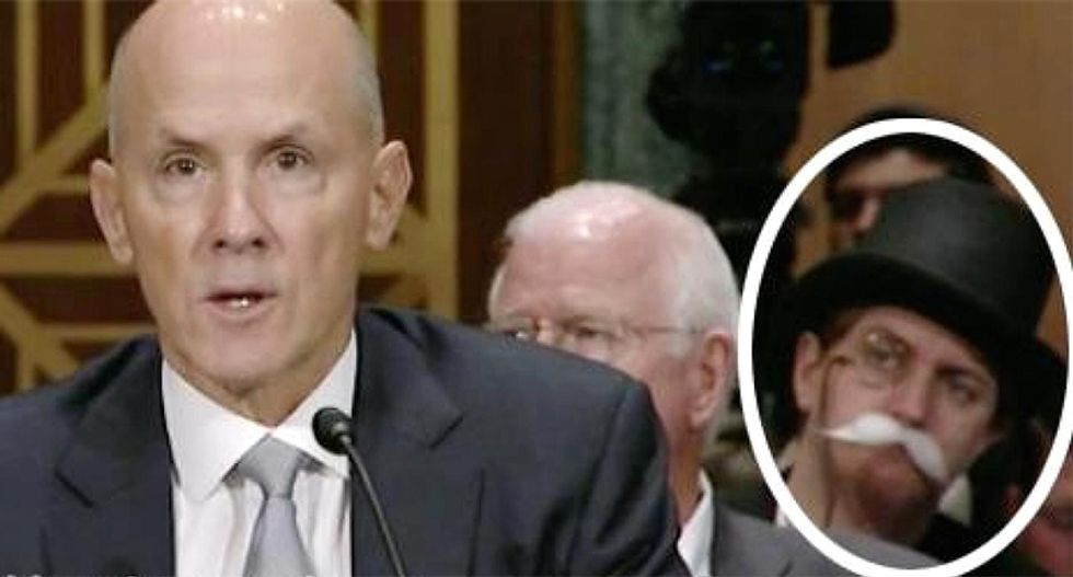 'Monopoly Man' photobombs former Equifax CEO during hearing on massive data breach