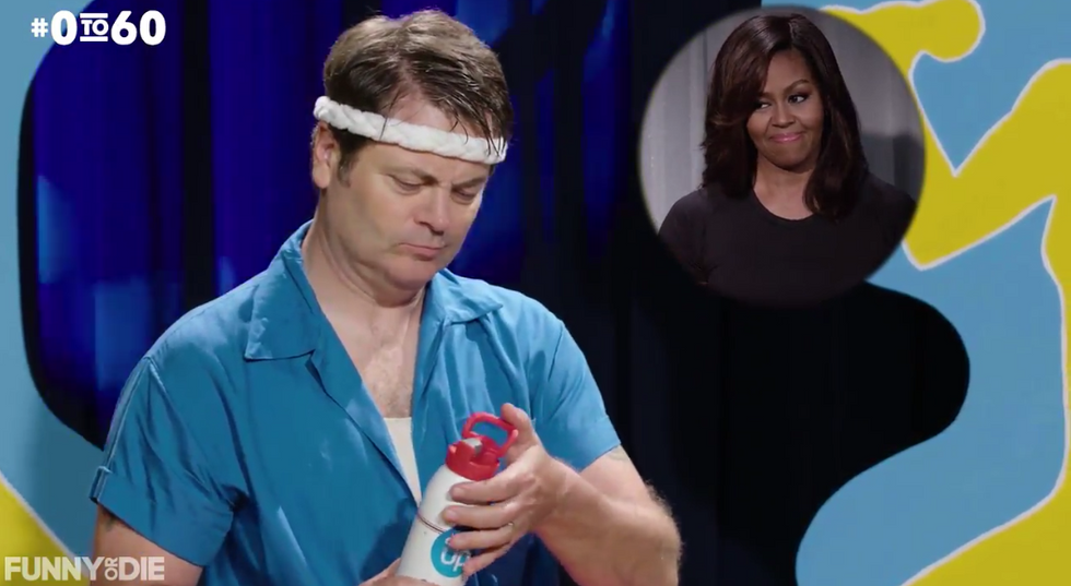WATCH: Michelle Obama hilariously whips Nick Offerman into shape in new 'Funny or Die' video