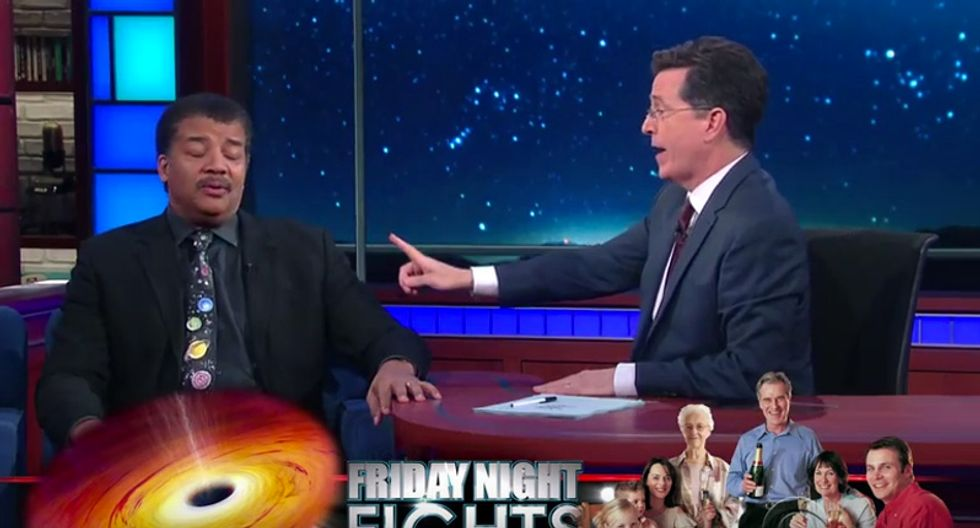 Colbert and deGrasse Tyson hilariously debate inescapabilty from black holes and 'family holiday obligations'