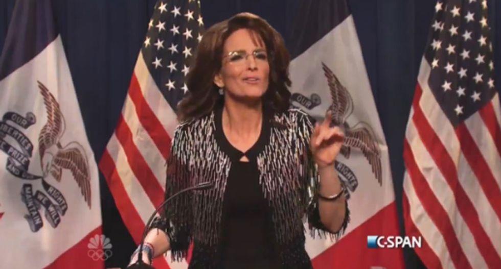 Tina Fey absolutely nails it on SNL as 'crazy' Sarah Palin endorsing Donald Trump