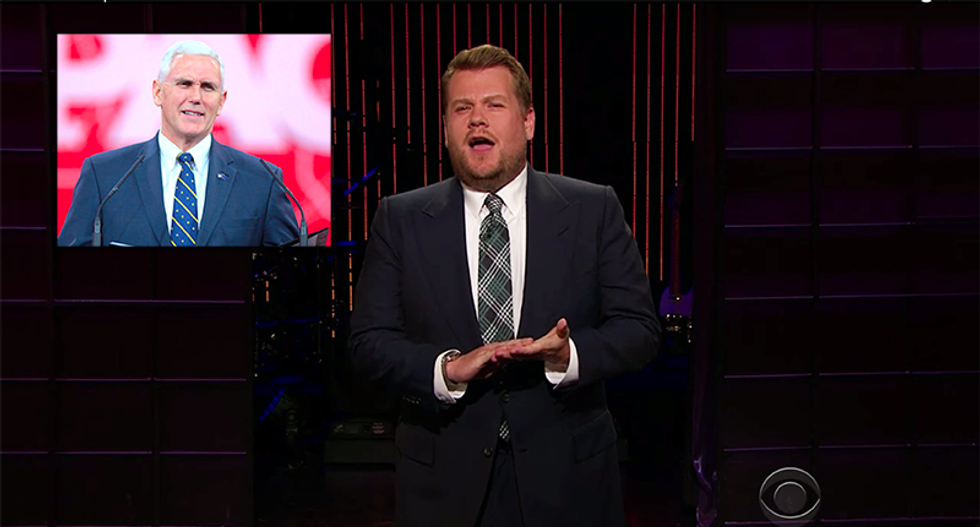 James Corden hilariously mocks Mike Pence for claim Trump will 'articulate the plans he articulated'