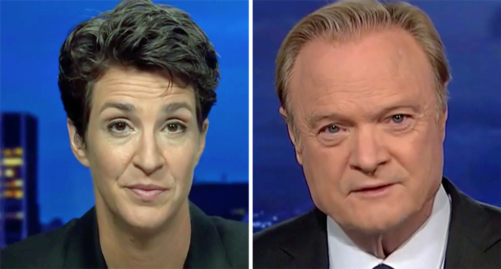 WATCH: Lawrence O'Donnell stuns Rachel Maddow with the latest update on Trump's military scandal