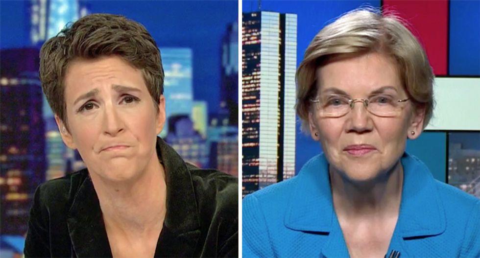 Elizabeth Warren states her case for impeaching Trump to MSNBC's Rachel Maddow
