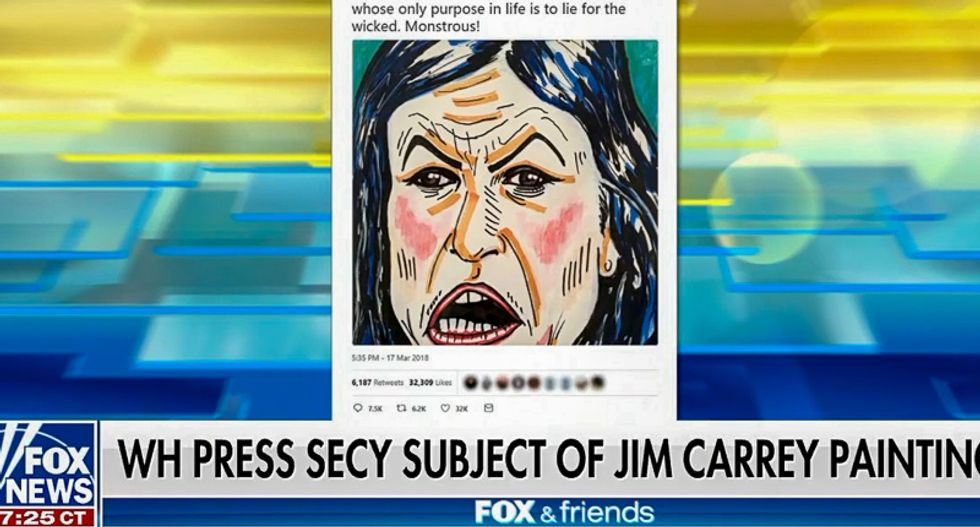 Oops: Jim Carrey's portrait of Sarah Sanders goes viral after Fox News freaks out about it