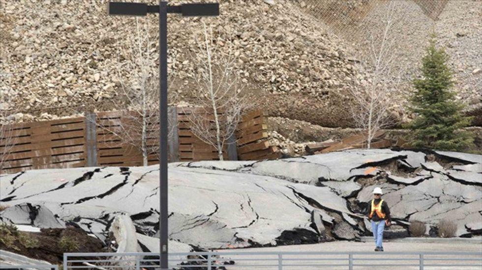 Landslide threatening Wyoming resort town slows to a crawl