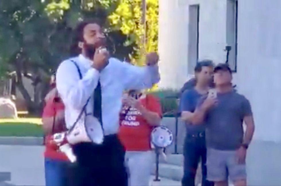 Trump supporters cheer as protestor calls for assassinating pro-LGBTQ Democrats