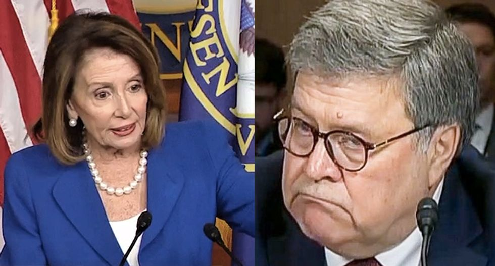 Attorney General Bill Barr asked Pelosi if she 'brought her handcuffs' to gathering