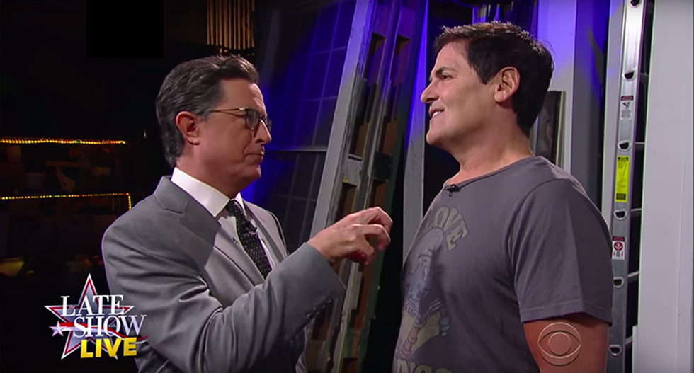 WATCH: Mark Cuban tells Stephen Colbert he'd pay Trump $9.5 million to wash his balls