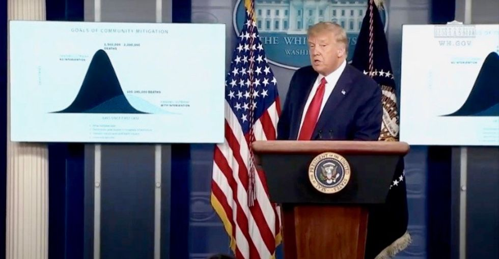 Trump falsely claims he's 'substantially below' his coronavirus death projections – then tries to blame 'blue states'