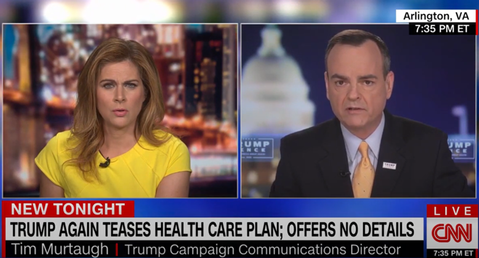 WATCH: Trump campaign official flails trying to explain why the president still has no health care plan