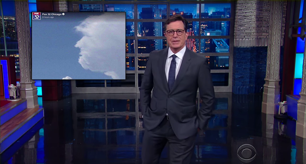WATCH: Colbert mocks spokesman's ridiculous claim that God has chosen Trump — with cloud formations
