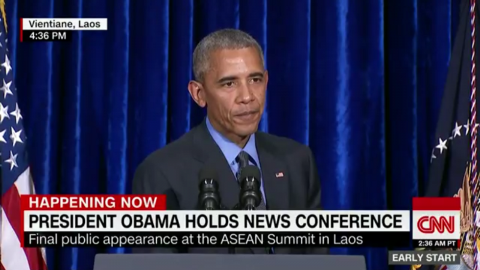 WATCH: Obama shames the press for normalizing Trump's 'outrageous and unacceptable' behavior