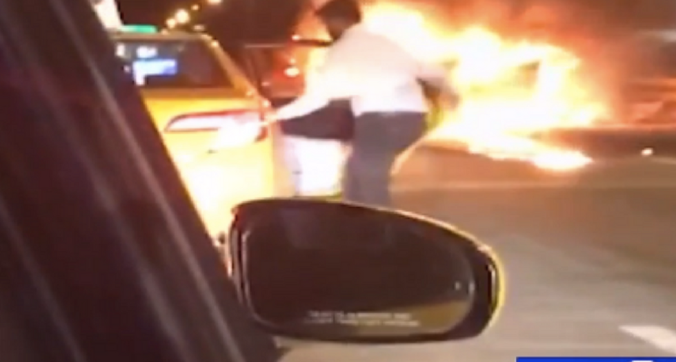 WATCH: Shocking video shows driver leaving passenger to burn to death in fiery crash