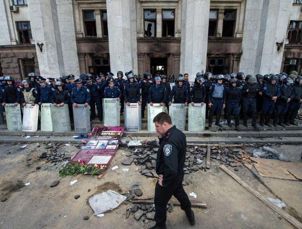 Russia celebrates Soviet victory in World War II by denouncing Ukranian 'fascists'