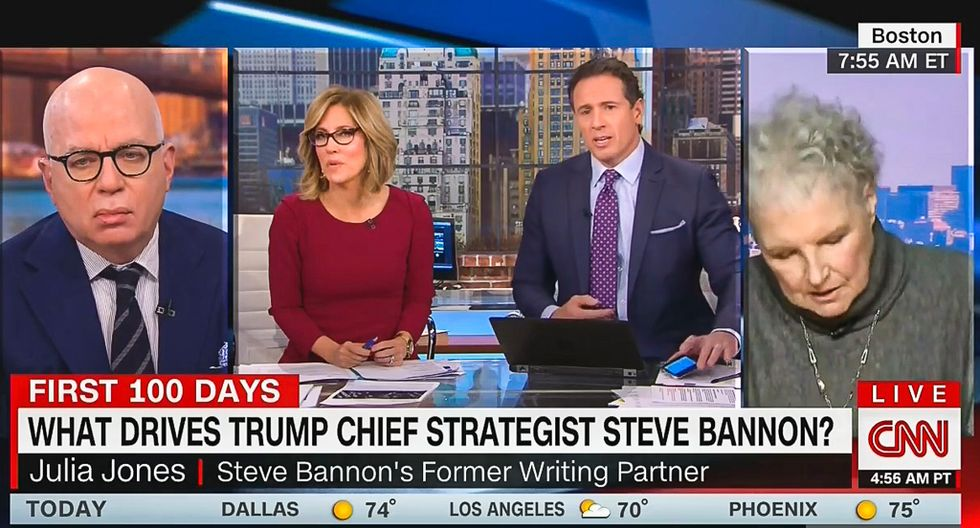 Steve Bannon's ex-partner acts terrified in bizarre CNN interview -- then suddenly disappears