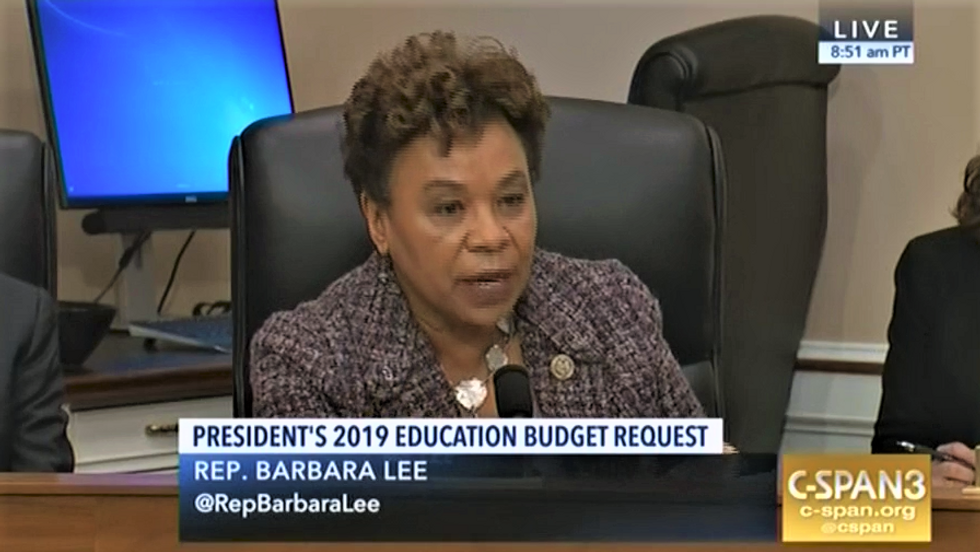 Watch Barbara Lee rip into Betsy DeVos for her careless attitude toward racism in schools
