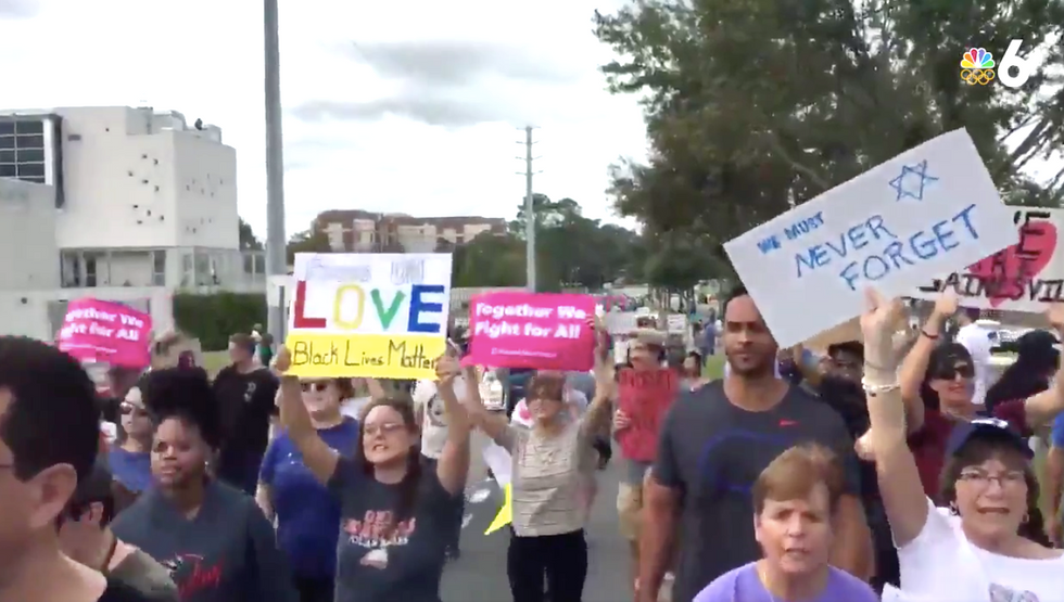Richard Spencer's supporters outnumbered '50-to-1' by protesters, press and police at Florida rally