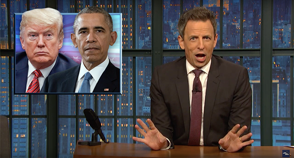 'That's insane': Seth Meyers flattens Fox News claim Trump's payoffs to mistresses are the same as Obama's errors