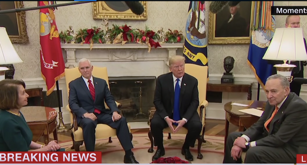 WATCH: Nancy Pelosi and Chuck Schumer hammer Trump over border wall lies in off-the-rails Oval Office meeting