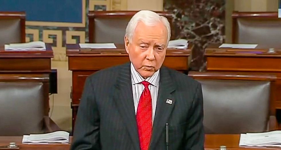 'Good riddance to a spineless dinosaur': Orrin Hatch gets pummeled on Twitter as he gives farewell speech