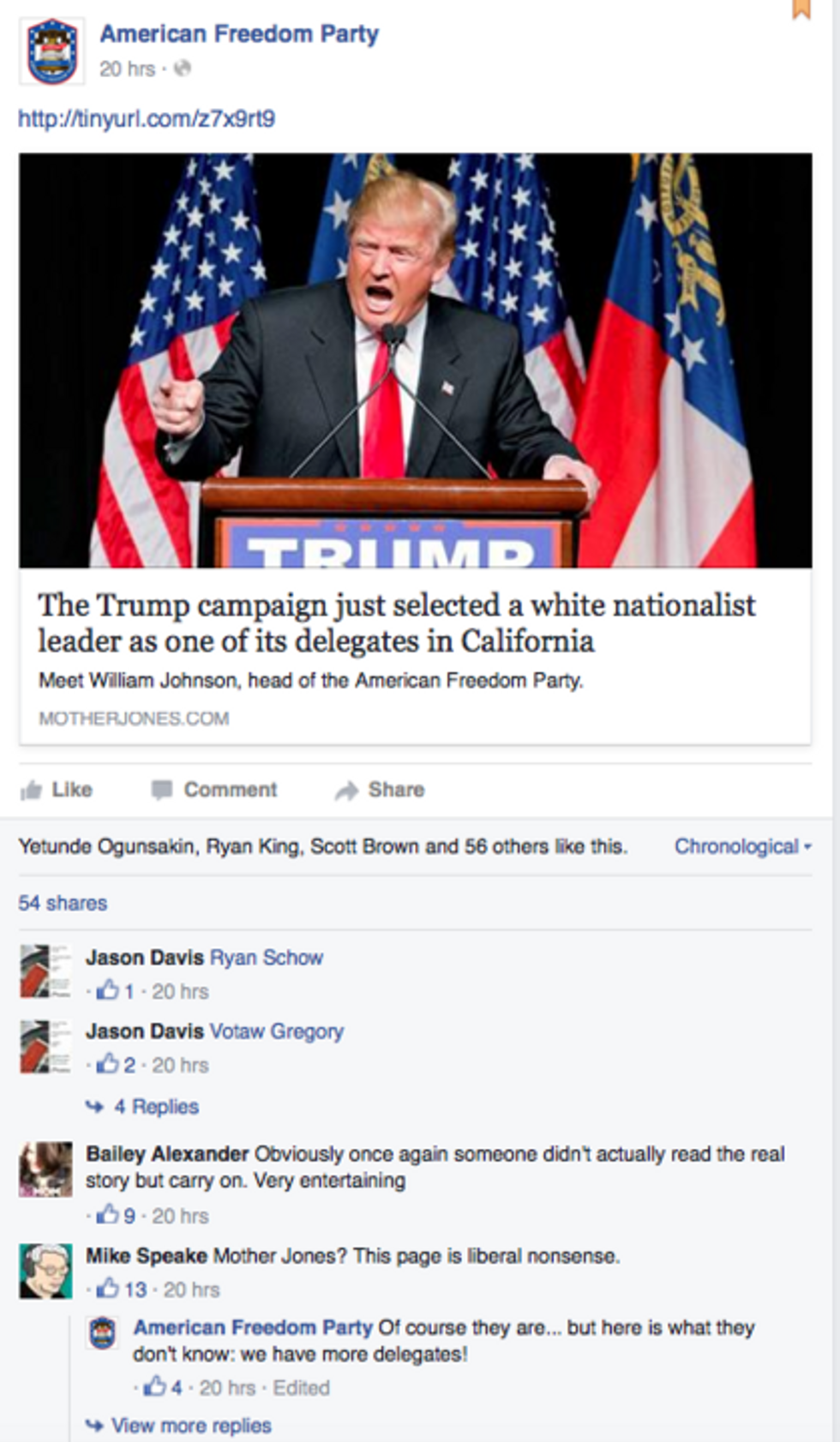 Screen capture of American Freedom Party from Mother Jones that has since been taken down.