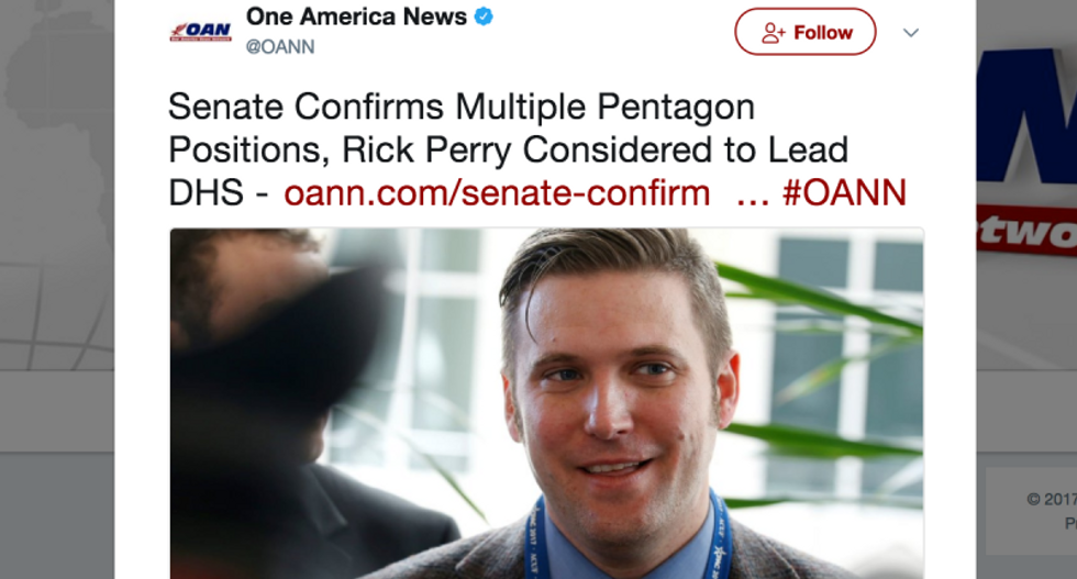 Pro-Trump OANN uses picture of neo-Nazi Richard Spencer in place of Secretary of the Navy nominee