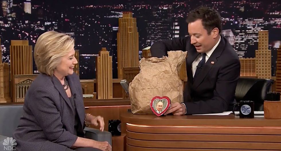WATCH: Hillary Clinton and Jimmy Fallon ridicule Donald Trump's 'bromance' with Putin