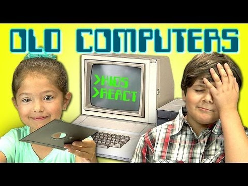 Little kids react to old computers