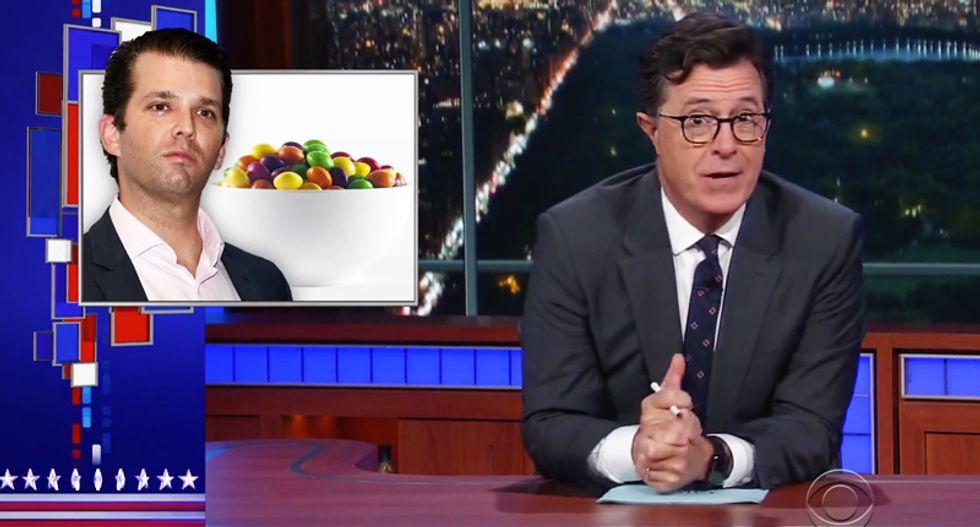 'Go fudge yourself': Colbert dismantles Trump's 'used car salesman' son over his dumb Skittles meme