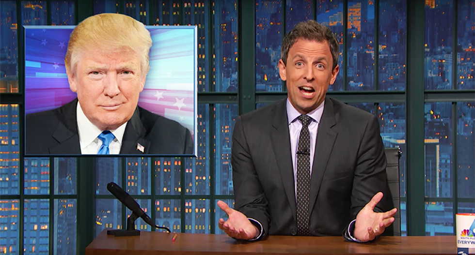 """Meyers mocks terrorized Trump: """"Are you a presidential candidate or the old lady who lives across the hall from me?"""""""
