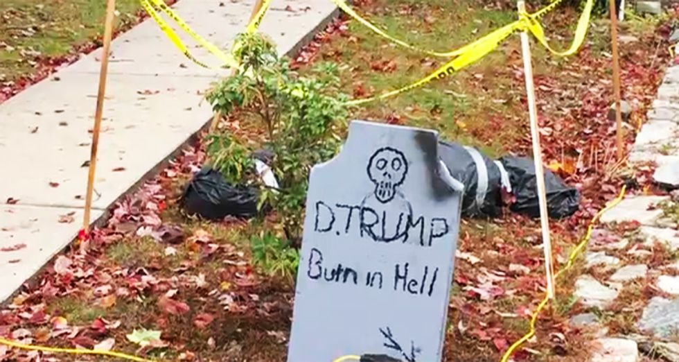 NY man won't take down 'Trump - burn in Hell' Halloween decorations after neighbor tells him to to go back to his country