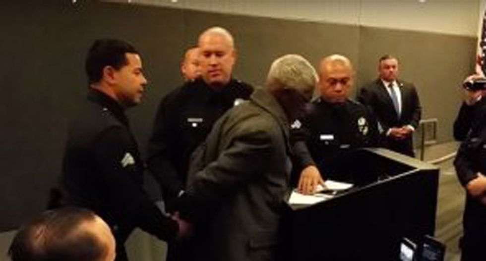 Los Angeles police are arresting people for speaking 20 seconds over their allotted time at city meetings