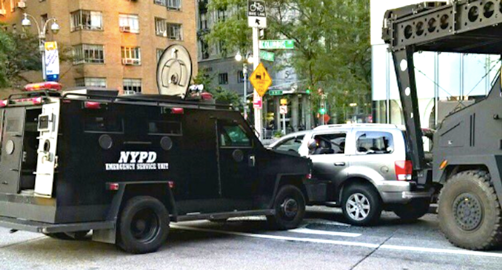 WATCH: New York City cops locked in standoff with suspect who tossed hoax bomb into police van