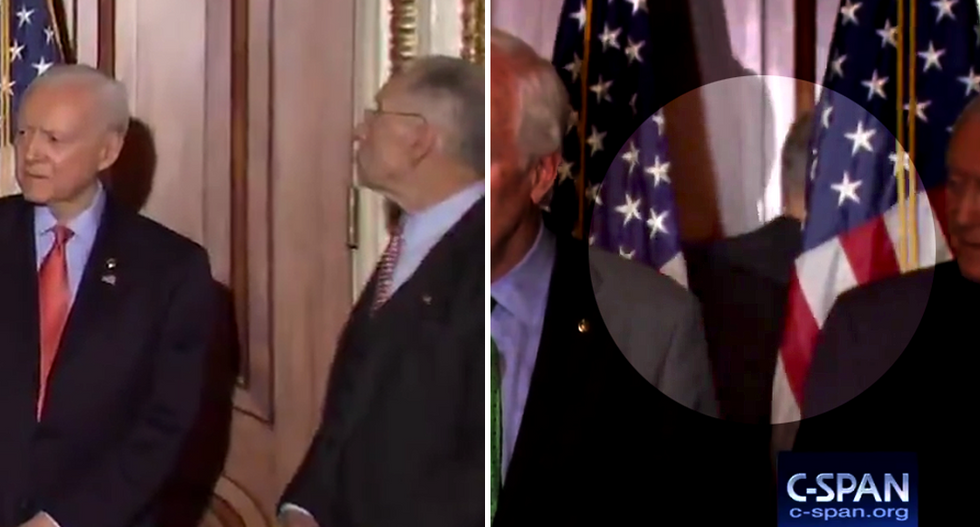 WATCH: Chuck Grassley scrambles through American flags to evade reporters asking about Mueller probe