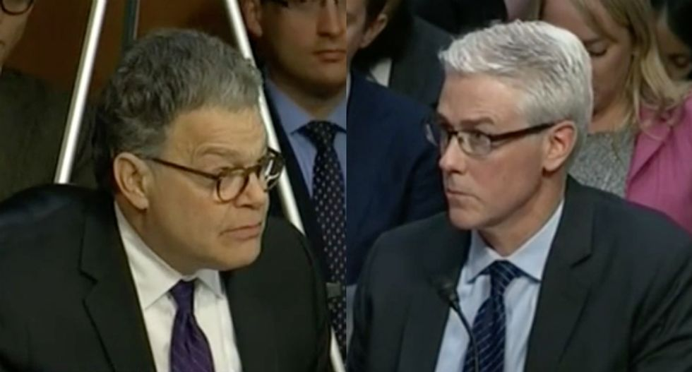 'Answer yes or no': Al Franken grills stammering Facebook exec who won't commit to refusing foreign ads